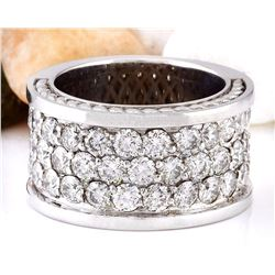 4.00 CTW Natural Diamond 18K Solid White Gold Ring