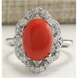 3.76 CTW Natural Red Coral And Diamond Ring 18K Solid White Gold
