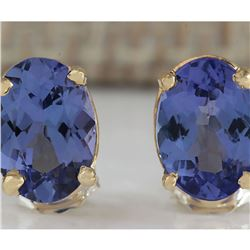 2.00 CTW Natural Blue Tanzanite Earrings In 18K Yellow Gold
