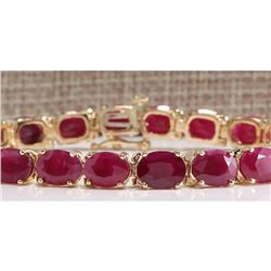 30.89 CTW Natural Red Ruby Bracelet In 14k Yellow Gold