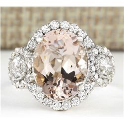 5.84 CTW Natural Morganite And Diamond Ring In 18K White Gold