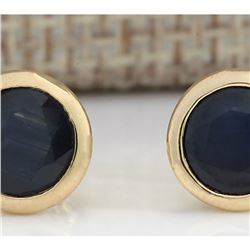 3.21 CTW Natural Blue Sapphire Earrings 18K Solid Yellow Gold