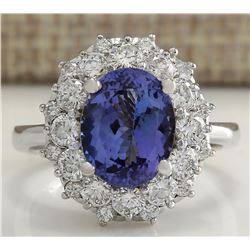 4.55 CTW Natural Blue Tanzanite And Diamond Ring In 18K White Gold