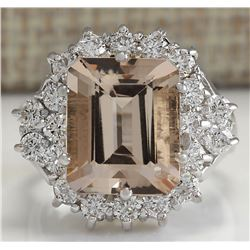 7.04 CTW Natural Morganite And Diamond Ring 18K Solid White Gold
