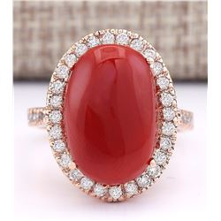5.90 CTW Natural Coral And Diamond Ring In 18K Rose Gold