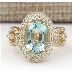 5.00 CTW Natural Blue Aquamarine And Diamond Ring In 14k Yellow Gold