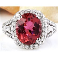 6.22 CTW Natural Tourmaline 18K Solid White Gold Diamond Ring