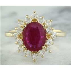 3.08 CTW Ruby 18K Yellow Gold Diamond Ring