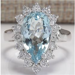 4.63 CTW Natural Aquamarine And Diamond Ring In 18K Solid White Gold