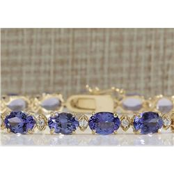 18.03CTW Natural Tanzanite And Diamond Bracelet In 14K Solid Yellow Gold