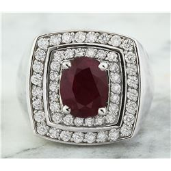 4.30 CTW Ruby 18K White Gold Diamond Ring
