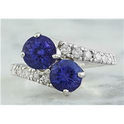 2.52 CTW Tanzanite 14K White Gold Diamond Ring