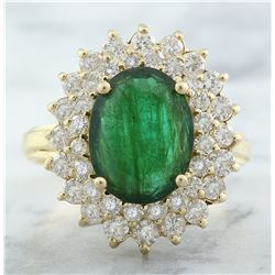 4.45 CTW Emerald 14K Yellow Gold Diamond Ring