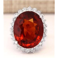 19.59 CTW Natural Hessonite Garnet And Diamond Ring In 14k White Gold