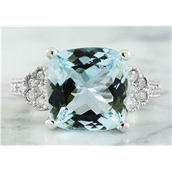 6.45 CTW Aquamarine 14K White Gold Diamond Ring