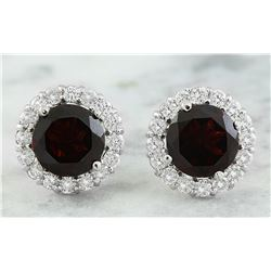 3.65 CTW Garnet 14K White Gold Diamond Earrings