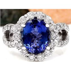 5.32 CTW Natural Tanzanite 14K Solid White Gold Diamond Ring