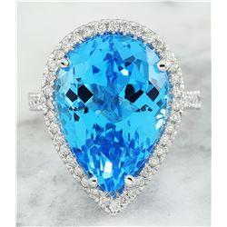16.65 CTW Topaz 18K White Gold Diamond Ring