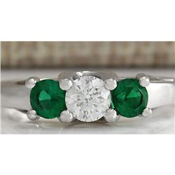 1.00 CTW Natural Colombian Emerald And Diamond Ring 18K Solid White Gold
