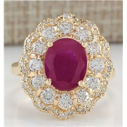 4.05 CTW Natural Ruby And Diamond Ring In 18K Yellow Gold