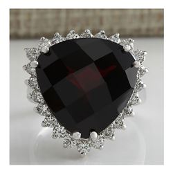 18.01CTW Natural Red Garnet And Diamond Ring In14K White Gold