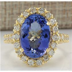 7.92 CTW Natural Blue Tanzanite And Diamond Ring In 18K Solid Yellow Gold