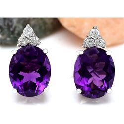 6.02 CTW Natural Amethyst 18K Solid White Gold Diamond Stud Earrings