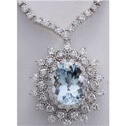 14.86 CTW Natural Aquamarine And Diamond Necklace In 18K White Gold