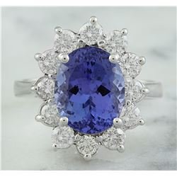 4.74 CTW Tanzanite 18K White Gold Diamond Ring