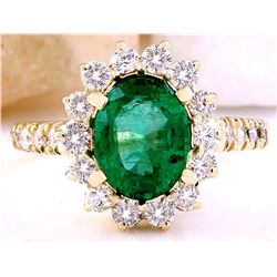 3.03 CTW Natural Emerald 14K Solid Yellow Gold Diamond Ring