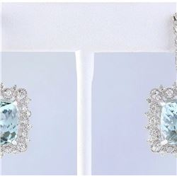 17.29 CTW Natural Aquamarine And Diamond Earrings 18K White Gold
