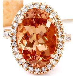 9.81 CTW Natural Morganite 18K Solid Rose Gold Diamond Ring