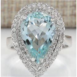 4.74 CTW Natural Aquamarine And Diamond Ring In 18K White Gold