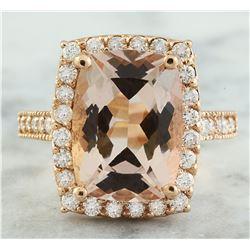 7.12 CTW Morganite 18K Rose Gold Diamond Ring