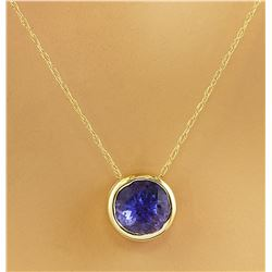 1.50 CTW Tanzanite 18K Yellow Gold Necklace