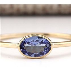0.60 CTW Natural Blue Tanzanite Ring 14k Solid Yellow Gold