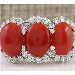 5.00 CTW Natural Coral And Diamond Ring In 18K White Gold