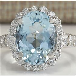 4.44 CTW Natural Aquamarine And Diamond Ring In 18K Solid White Gold