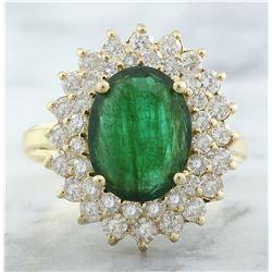 4.45 CTW Emerald 18K Yellow Gold Diamond Ring