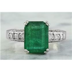 3.72 CTW Emerald 18K White Gold Diamond Ring