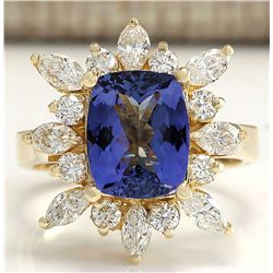 4.36 CTW Natural Blue Tanzanite And Diamond Ring In 18K Solid Yellow Gold