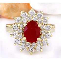 3.02 CTW Natural Ruby 18K Solid Yellow Gold Diamond Ring