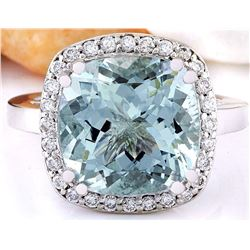 7.28 CTW Natural Aquamarine 18K Solid White Gold Diamond Ring