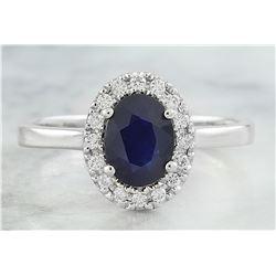 1.48 CTW Sapphire 18K White Gold Diamond Ring
