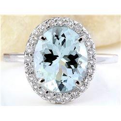3.55 CTW Natural Aquamarine 14K Solid White Gold Diamond Ring