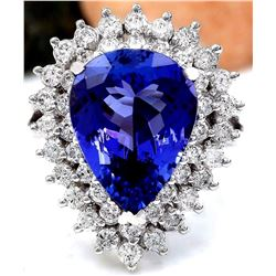 7.51 CTW Natural Tanzanite 18K Solid White Gold Diamond Ring