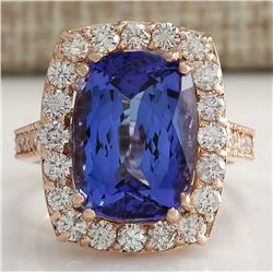 11.23 CTW Natural Blue Tanzanite And Diamond Ring In 18K Rose Gold