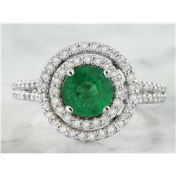 2.45 CTW Emerald 18K White Gold Diamond Ring