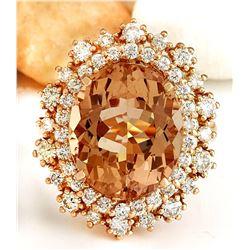 9.08 CTW Natural Morganite 18K Solid Rose Gold Diamond Ring