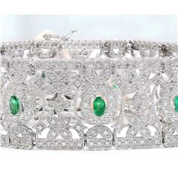 8.25 CTW Natural Emerald 18K Solid White Gold Diamond Bracelet